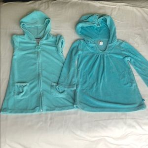 Set of 2 hooded swim coverups .